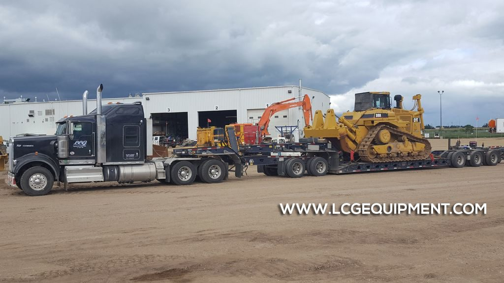 heavy machinery moving D9 crawler dozer